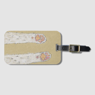 Cute White Cat Paws, Feline Art Drawing Luggage Tag