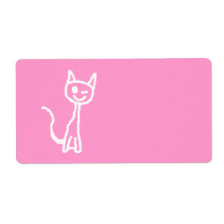 Cute White Cat. Personalized Shipping Label