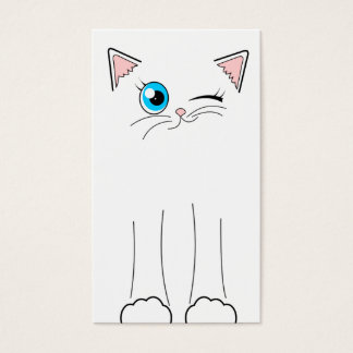 Cute White Cat Pet Sitting Service Business Card