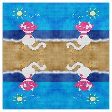 Beach Themed Cute White Cat Pink Bonnet Summer Beach Fabric 2
