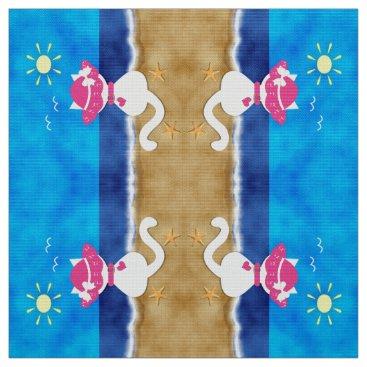Beach Themed Cute White Cat Pink Bonnet Summertime Beach Fabric