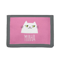 Cute White Cat Pink Monogrammed Trifold Wallet