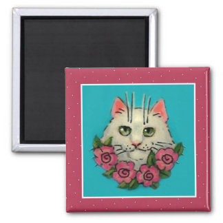 Cute white cat, pink roses magnet