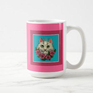Cute white cat, pink roses mug