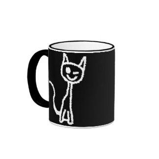 Cute White Cat. Ringer Mug