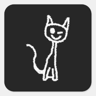 Cute White Cat. Square Sticker