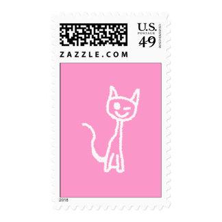 Cute White Cat. Stamp