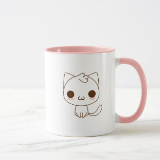 Cute White Cat with a kawaii catface Mug