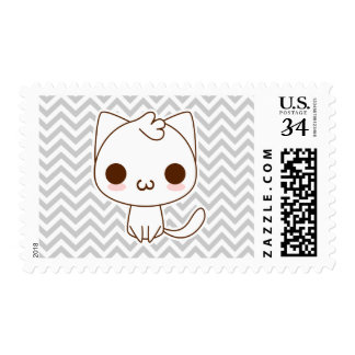 Cute White Cat with a kawaii catface Postage