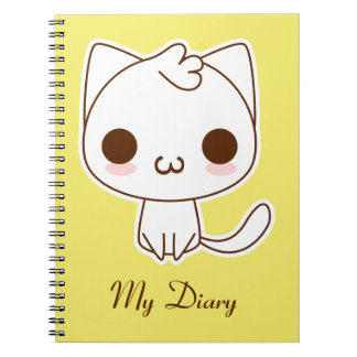 Cute White Cat with a kawaii catface Spiral Notebook