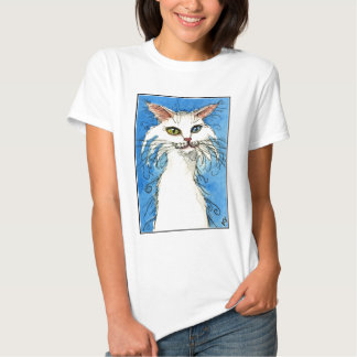Cute white cat with odd eyes tee shirt