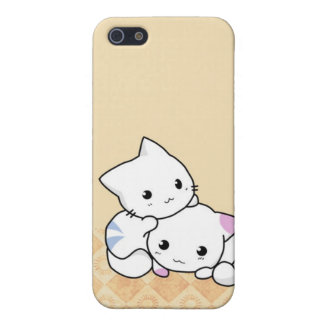Cute White Cats Beige background i Cover For iPhone 5/5S