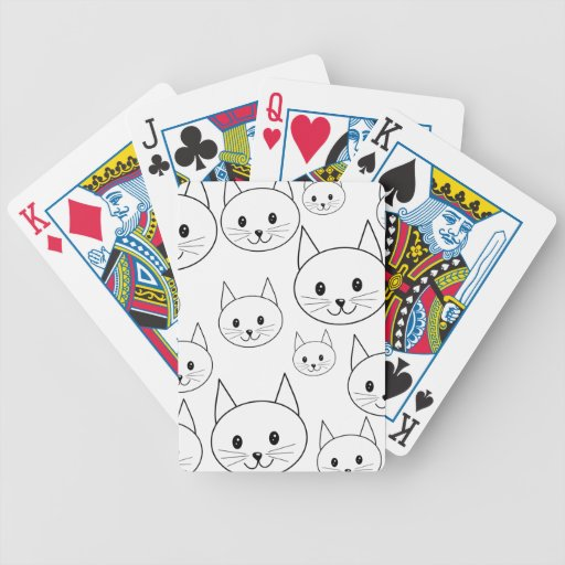 Cute White Cats Pattern. Bicycle Card Deck