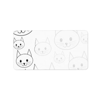 Cute White Cats Pattern. Label
