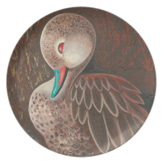 Cute White Cheeked Pintail Duck Painting Dinner Plates