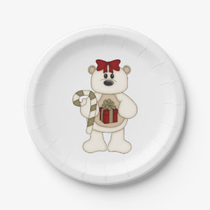 Cute White Christmas Bear with Candy Cane Paper Plate  sc 1 st  Zazzle & Candy Cane Colors Plates | Zazzle