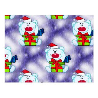 Cute White Christmas Bears Postcard