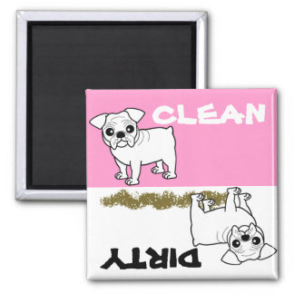 Cute White Coat Bulldog Cartoon 2 Inch Square Magnet