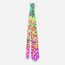 Cute white colorful geometric patterns neck tie