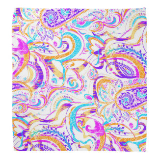Cute white colorful paisley design bandana