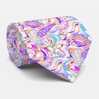 Cute white colorful paisley design neck tie