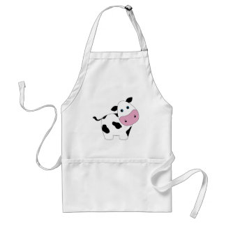 Cute White Cow Adult Apron