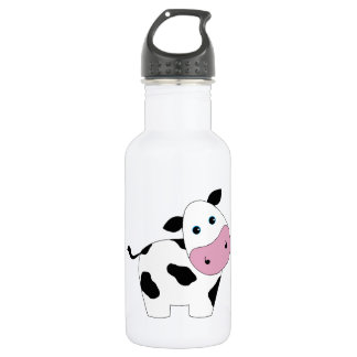 Cute White Cow Water Bottle