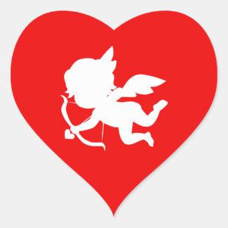 Cute White Cupid Shape on Red Heart Sticker