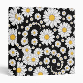 Cute White Daisies on Black Background Binder