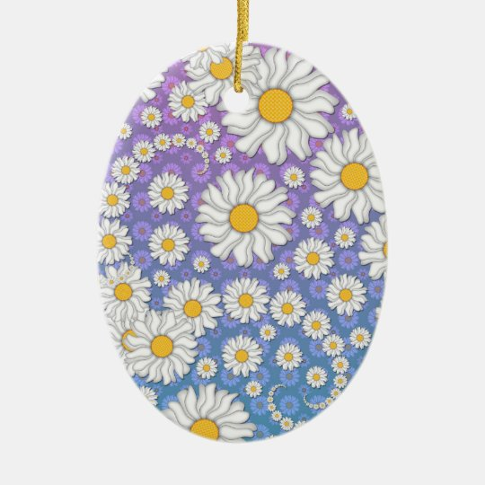 Cute White Daisies on Blue Purple Background Ceramic Ornament
