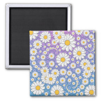 Cute White Daisies on Blue Purple Background Magnet