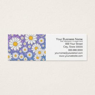 Cute White Daisies on Blue Purple Background Mini Business Card