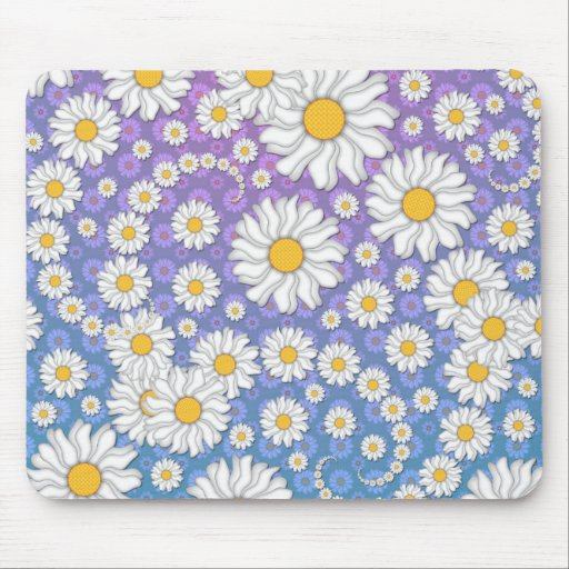 Cute White Daisies on Blue Purple Background Mousepad