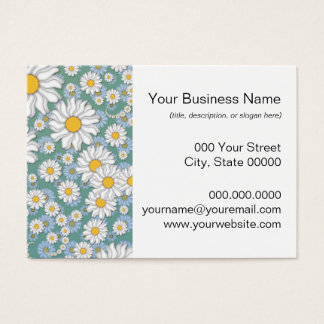 Cute White Daisies on Dusty Teal Blue Green Business Card