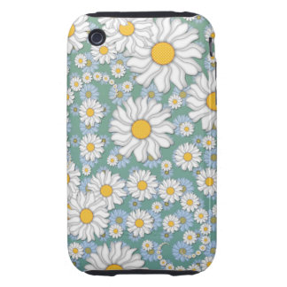 Cute White Daisies on Dusty Teal Blue Green Tough iPhone 3 Case