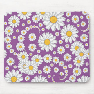 Cute White Daisies on Purple Background Mouse Pad