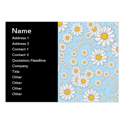 Cute White Daisies on Sweet Baby Blue Large Business Cards (Pack Of 100)
