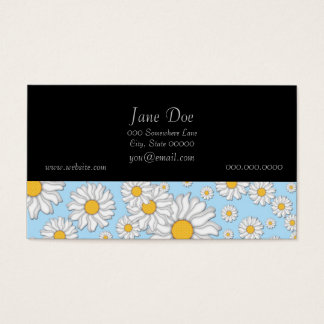 Cute White Daisies on Sweet Baby Blue Business Card