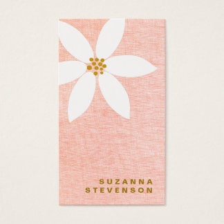 Cute White Daisy Pink Floral Business Card