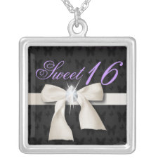 Cute white Diamond Sweet 16 Necklace
