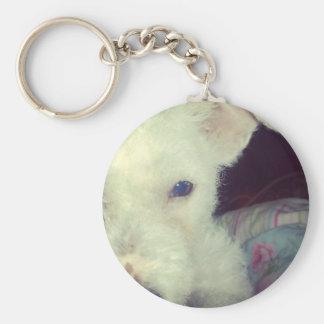 Cute white dog keychain