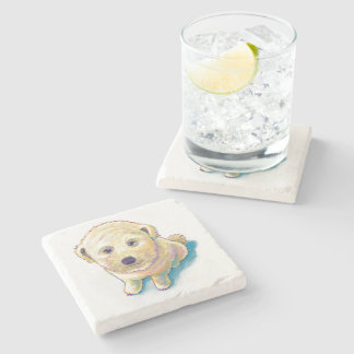 Cute white dog painting whoodle wheaten mutt puppy stone coaster