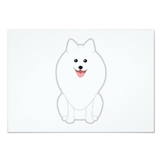Cute White Dog. Spitz or Pomeranian. Card
