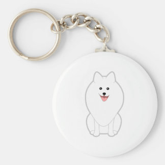 Cute White Dog. Spitz or Pomeranian. Key Chains
