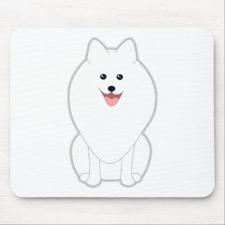 Cute White Dog. Spitz or Pomeranian. Mouse Pad