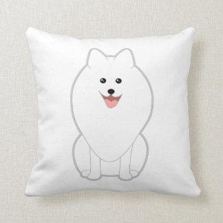 Cute White Dog. Spitz or Pomeranian. Throw Pillows