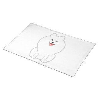 Cute White Dog. Spitz or Pomeranian. Placemats