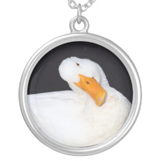 Cute white duck on black round pendant necklace