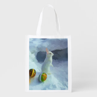Cute White Easter bunny in snow Reusable Grocery Bag