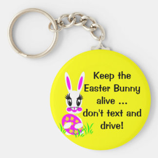 Cute White Easter Bunny with Coloured Egg Keychain